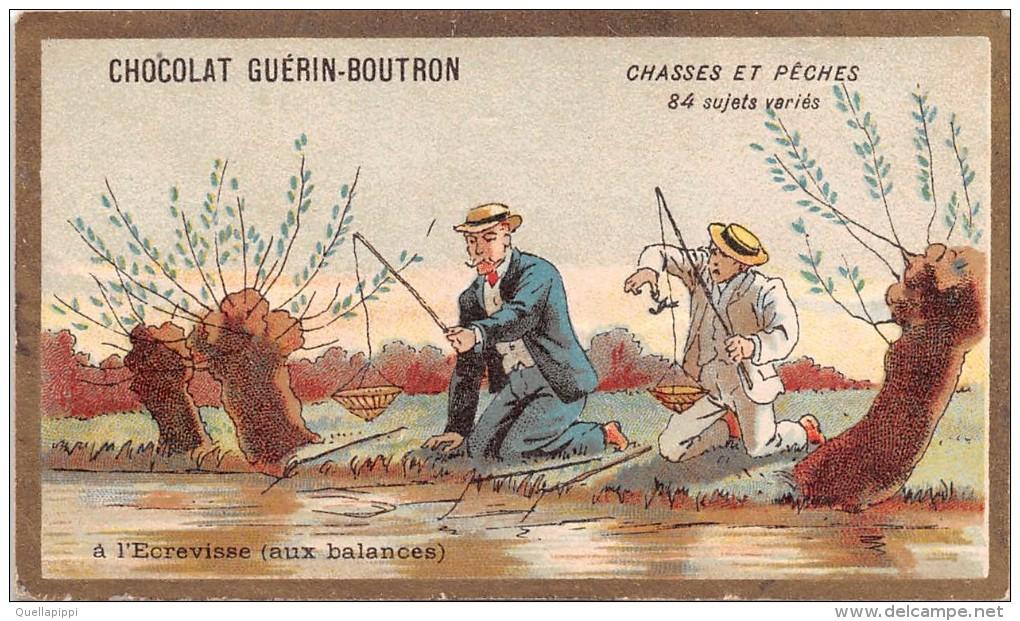 """04096 """"CHOCOLAT GUERIN-BOUTRON - PARIGI - CACCIA E PESCA"""" PESCATORI,  FIGURINA ORIGINALE - Cioccolato"""