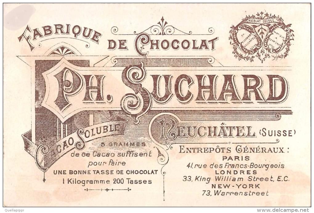 """04107 """"FABRIQUE DE CHOCOLAT PH. SUCHARD - NEUCHATEL - SUISSE"""" ANIMATO, CONTADINA, CAPRE,  FIGURINA ORIGINALE - Cioccolato"""