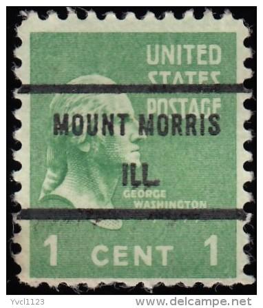 "UNITED STATES - Scott #804-1 George Washington ""Precancel; MOUNT NORRIS ILL."" / Mint NG Stamp - Precancels"