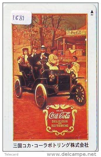 Télécarte Japon * COCA COLA * (1881) JAPAN PHONECARD * TELEFONKARTE * CAR * VOITURE * OLDTIMER - Advertising