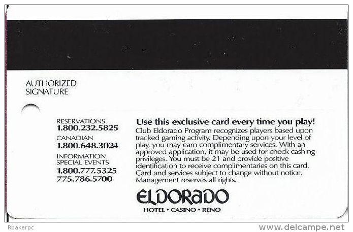 Eldorado Casino Reno NV 14th Issue Slot Card - Smaller Authorized Signature Text - Casino Cards