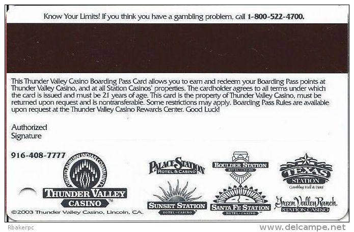 Thunder Valley Casino Lincoln CA - Slot Card Copyright 2003 With Signature - Casino Cards