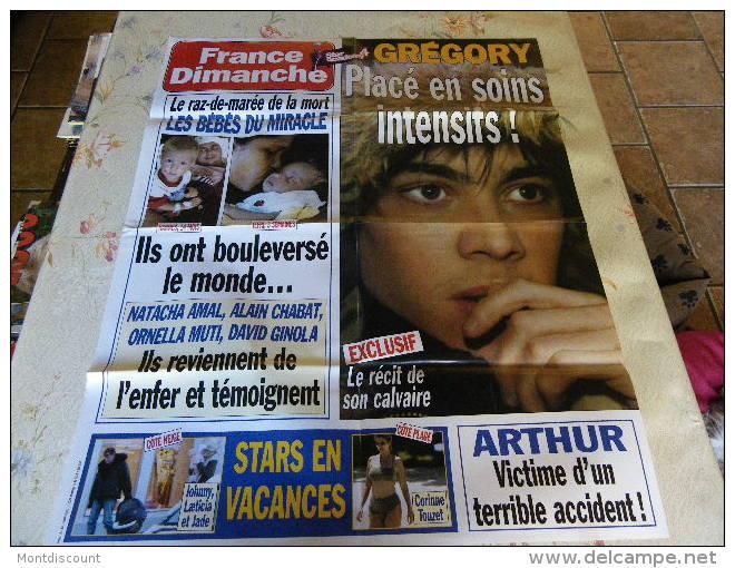 AFFICHE ICI FRANCE DIMANCHE GREGORY LEMARCHAL REGARDEZ MES VENTES ! J´EN AI D´AUTRES - Magazines: Abonnements