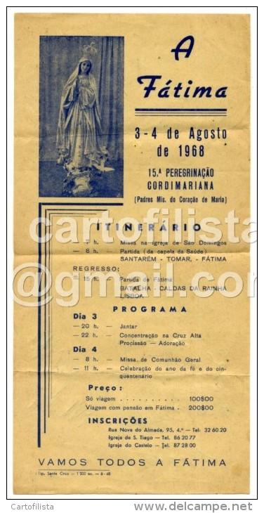 Portugal, Fátima, Horário De Excursão 1968   (2 Scans) - Europe