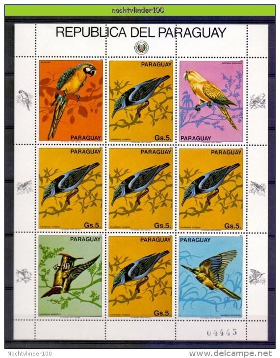 Ncz056b FAUNA VOGELS IJSVOGEL PAPEGAAI KINGFISHER PARROT BIRDS VÖGEL AVES OISEAUX PARAGUAY 1983 PF/MNH - Birds