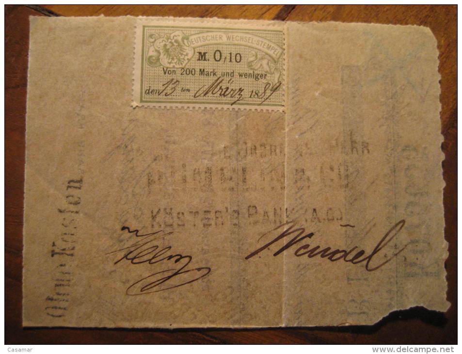 0,10 M Deutscher Wechsel - Stempel 1889 SUCHARD On Document Revenue Fiscal Tax Postage Due Official Germany - Alemania