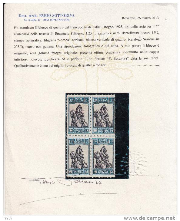 Regno D'Italia - Emanuele Filiberto 1,25 Lire Dent 13¾ In Quartina Sass. 235/i Lineare ** Periziata - 1900-44 Vittorio Emanuele III