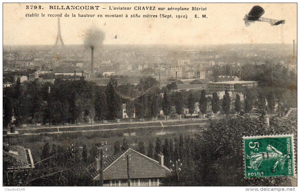 Billancourt : Aéroplane Blériot Aviateur Chavez Record De Hauteur 2630m (sept. 1910) Prix En Baisse - ....-1914: Precursors