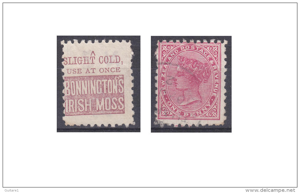 "Nouvelle Zélande Publicité ""Bonninctons Irish Moss, A Slight Cold Use At Once"" - Used Stamps"