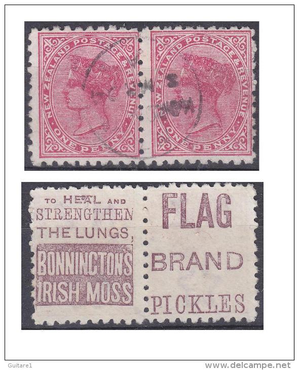 Nouvelle Zélande, Paire Avec Publicité Bonninctons Irish Moss Et Flag Brand Pickles - Used Stamps