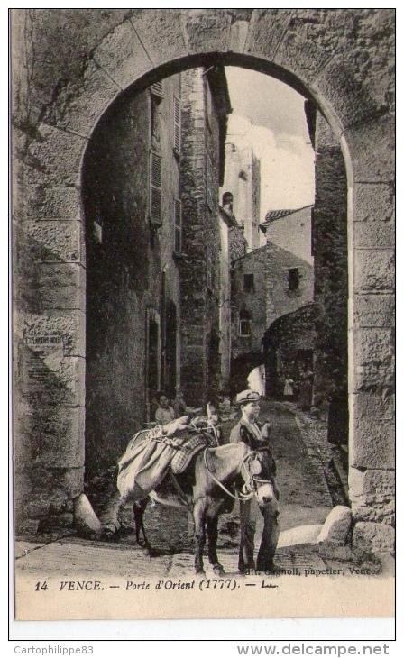 ALPES MARITIMES 06 VENCE PORTE D' ORIENT Attelage D'un âne Ou Mulet Transport - Vence
