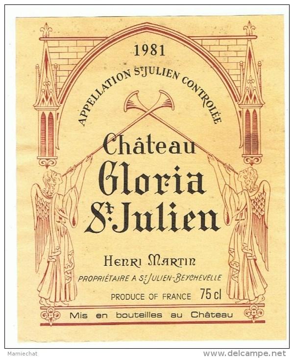 ETIQUETTE-CHATEAU GLORIA-ST-JULIEN-1981- - Bordeaux