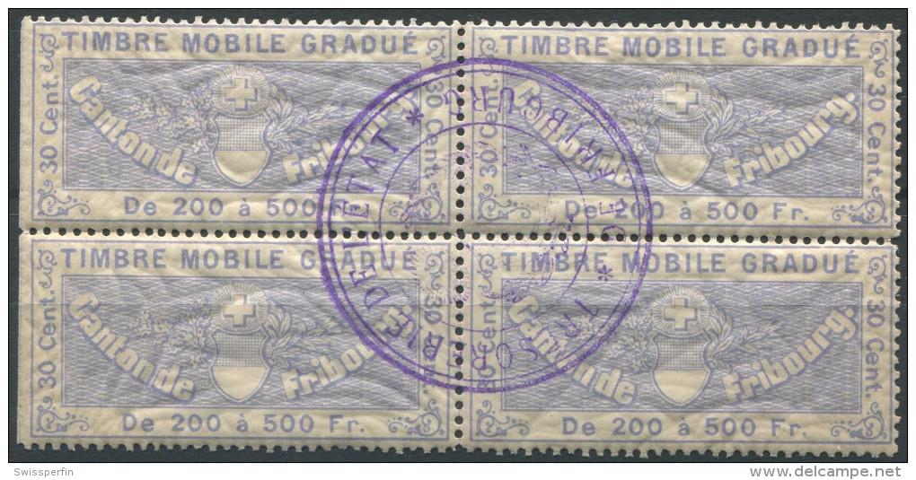 1204 - FRIBOURG Fiskalmarke Im Viererblock - Fiscaux
