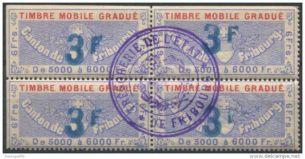 1207 - FRIBOURG Fiskalmarke Im Viererblock - Fiscaux