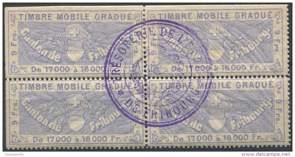 1213 - FRIBOURG Fiskalmarke Im Viererblock - Fiscaux