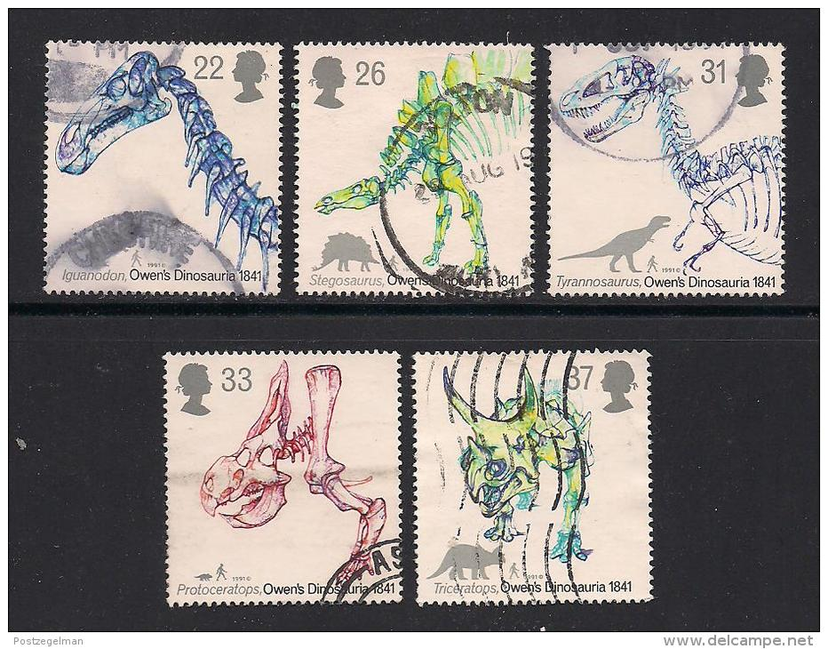 UK, 1991, Cancelled Stamp(s) , Dinocaurs,  1350-1354, #14552 - Used Stamps