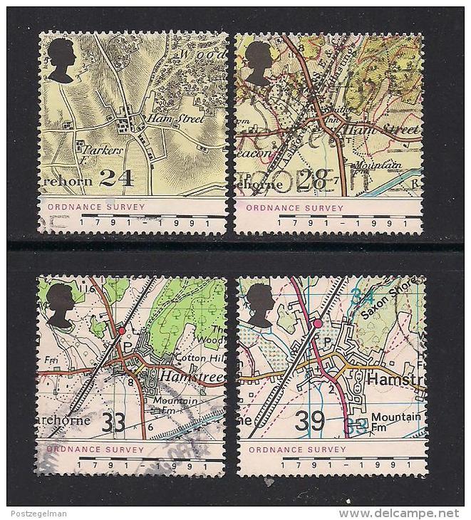 UK, 1991, Cancelled Stamp(s) , Ordnance Survey,  1363-1366, #14553 - 1952-.... (Elizabeth II)