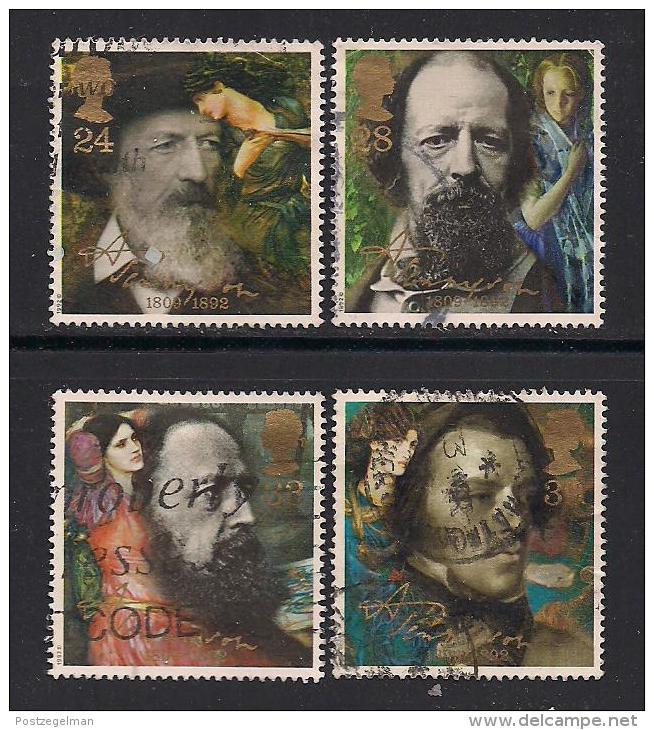 UK, 1992, Cancelled Stamp(s) , Alfred Lore Tennyson,  1392-1395, #14559 - 1952-.... (Elizabeth II)