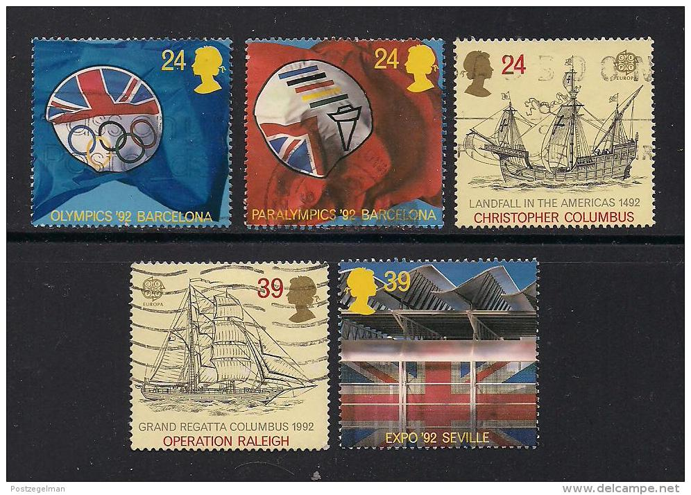 UK, 1992, Cancelled Stamp(s) , EUROPA International Events,  1400-1404, #14561 - Used Stamps