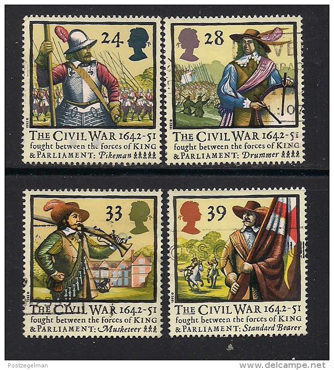 UK, 1992, Cancelled Stamp(s) , 350th Anniversary Of The Civil War,  1405-1408, #14562 - Used Stamps