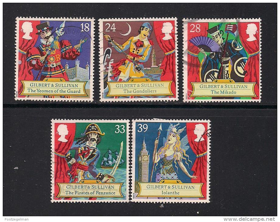 UK, 1992, Cancelled Stamp(s) , Sir Arthur Sullivan,  1409-1413, #14563 - Used Stamps