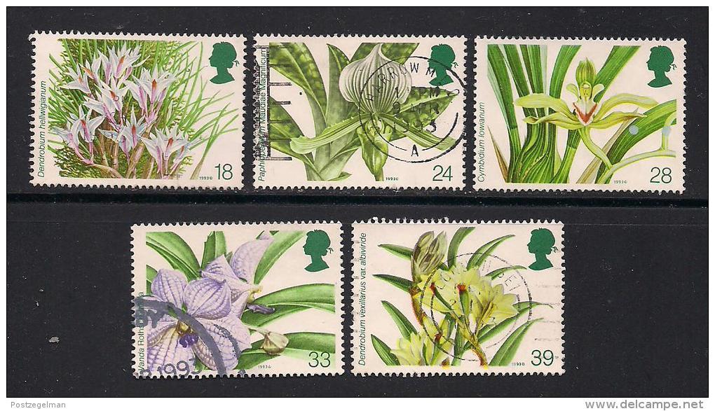 UK, 1993, Cancelled Stamp(s) , Orchid Conference,  1446-1450, #14570 - 1952-.... (Elizabeth II)