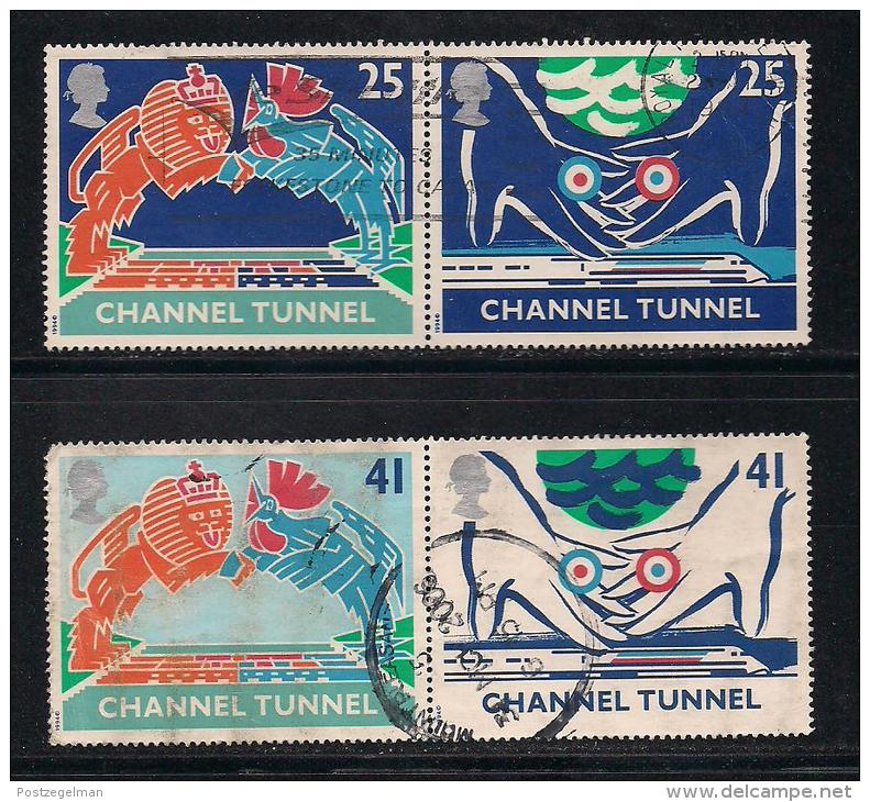 UK, 1994, Cancelled Stamp(s) , Channel Tunnel Pairs,  1513-1516,  #14582 - Used Stamps