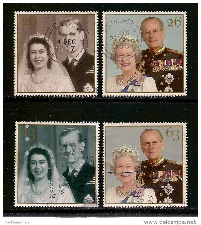 UK, 1997, Cancelled Stamp(s) , Golden Royal Wedding,  1719-1722 #14610 - Used Stamps
