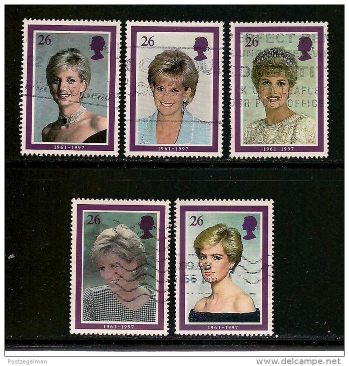 UK, 1998, Cancelled Stamp(s) , Princess Diana Of Wales,  1729-1733 #14612 - 1952-.... (Elizabeth II)