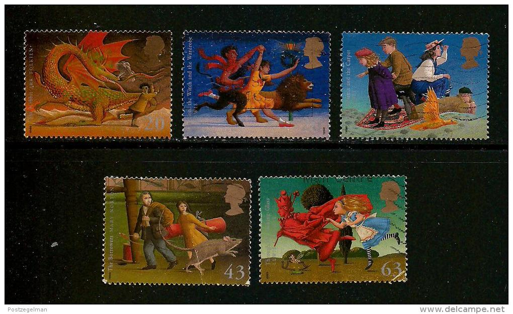 UK, 1998, Cancelled Stamp(s) , Children's Fanasy Novels,  1758-1762, #14616 - Used Stamps