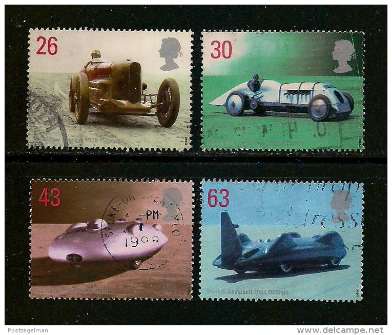 UK, 1998, Cancelled Stamp(s) , Land Speed Record Holders,  1767=1771 #14618 (4 Values Only) - Used Stamps