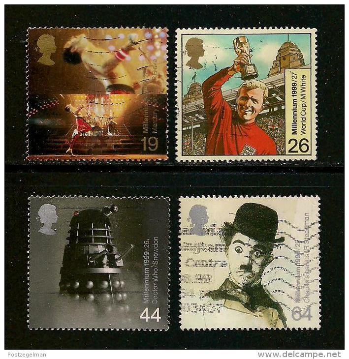 UK, 1999, Cancelled Stamp(s) , Millenium Series The Entertainers,  Sg1403-1406, #14624 - 1952-.... (Elizabeth II)