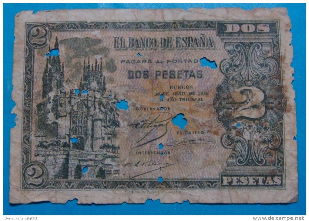 SPAIN 2 PESETAS 1938, SERIES N. GOOD - [ 3] 1936-1975 : Régence De Franco