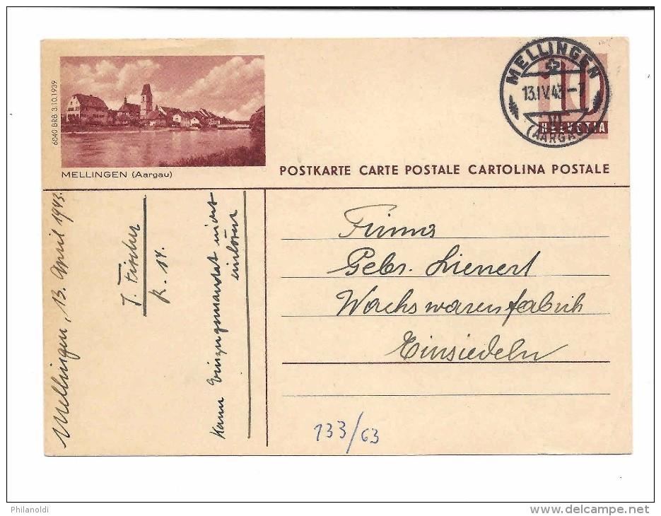 1943 Entier Postal Illustré MELLINGEN (AARGAU) + Oblitération Concordante MELLINGEN , Visa Censure 3.10.39 - Stamped Stationery