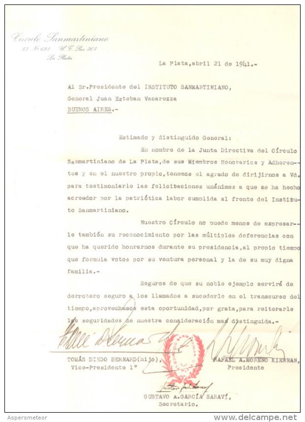 CARTA FIRMADA ORIGINAL POR LOS HISTORIADORES Y PROFESORES RAFAEL A. MORENO KIERNAN TOMAS DIEGO BERNARD HIJO Y GUSTAVO A. - Autografi