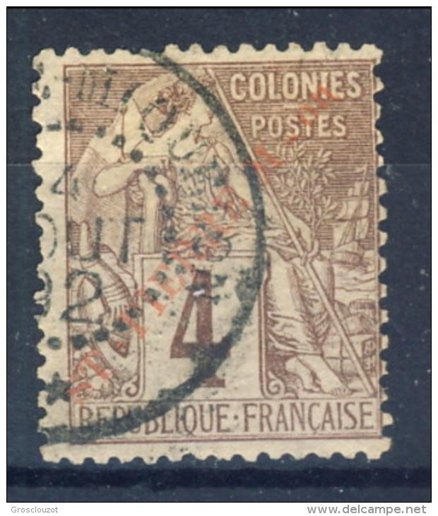 S. Pierre Et Miquelon 1891 N. 20 C. 4 Lilla Bruno, Sovrastampa Obliqua USATO Catalogo € 16 - St.Pierre & Miquelon