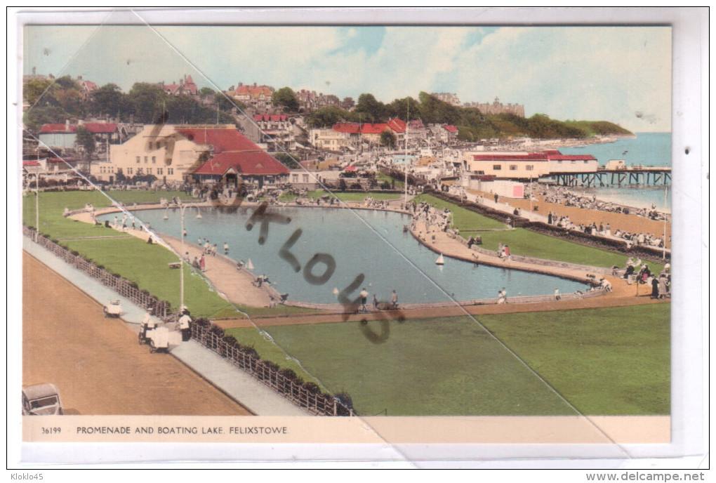 Angleterre - FELIXSTOWE - PROMENADE AND BOATING LAKE - Vue Du Petit Lac Avec Bateau à Voile Des Enfants -  CPSM Couleur - Angleterre