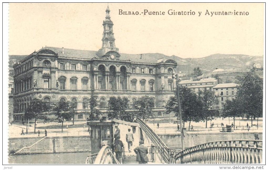POSTAL  BILBAO  -ESPAÑA  -  PUENTE GIRATORIO Y AYUNTAMIENTO - Vizcaya (Bilbao)
