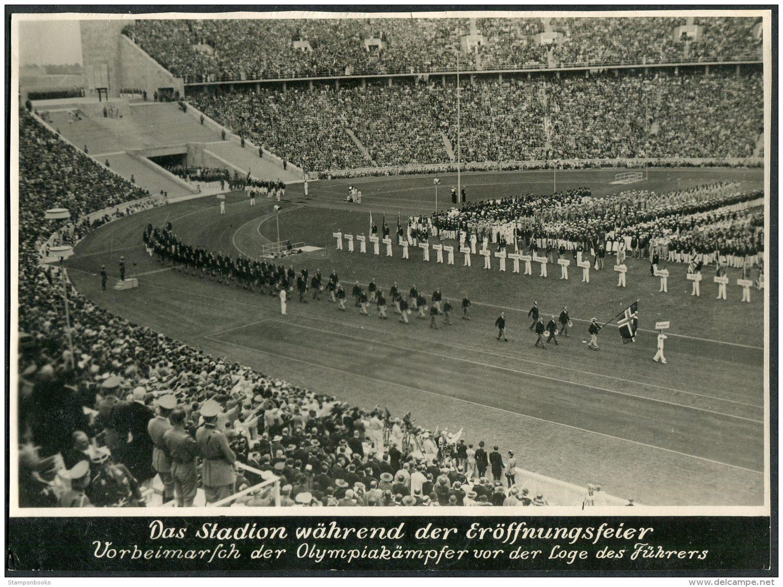 1936 Germany Berlin Olympics Press Photocard: Hitler Stadium Norway - Olympics