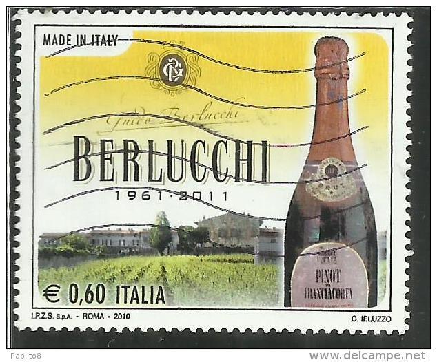 ITALIA REPUBBLICA ITALY REPUBLIC 2010 MADE IN ITALY BERLUCCHI BOTTIGLIA PINOT DI FRANCIACORTA USATO USED OBLITERE' - 6. 1946-.. Republic