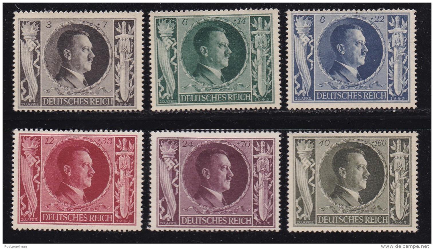 DEUTSCHES REICH, 1943, Unused (no Glue) Stamp(s), Hitler, MI 844-849, #16173 , - Germany