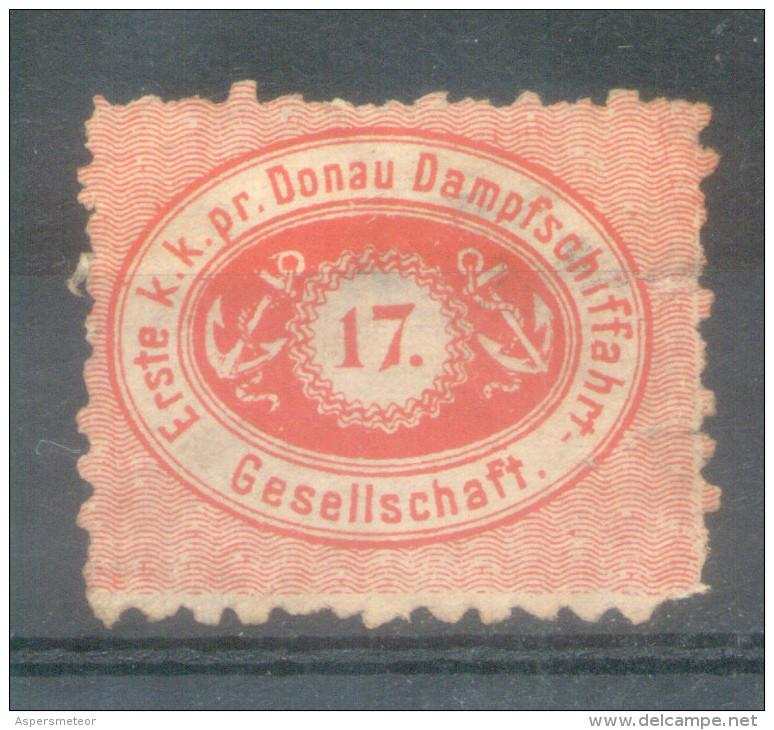 17 Erste K.K. Pr Donau Damptschiffahrt Gesellschaft Poster Stamp Label Revenue Fiscal Tax Postage Due Official Austria ? - Austria