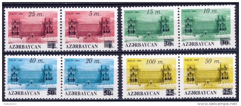 AZERBAIJAN - 1994 - Mi 122-129Zd - GOVERNMENT BUILDING SURCHARGE - MNH ** - Azerbaïjan