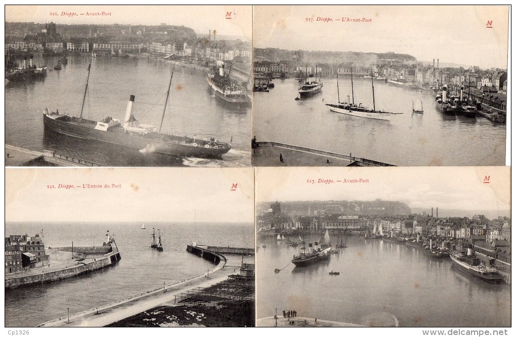 55Nja   76 Dieppe Lot De 4 Cpa Du Port Et De L'avant Port - Dieppe
