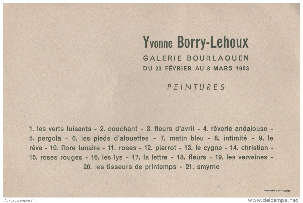 Carton D'Invitation à Un Vernissage Du Peintre Yvonne Borry-Lehoux à La Galerie Bourlaouën - 44000 Nantes - 1963 - Programas