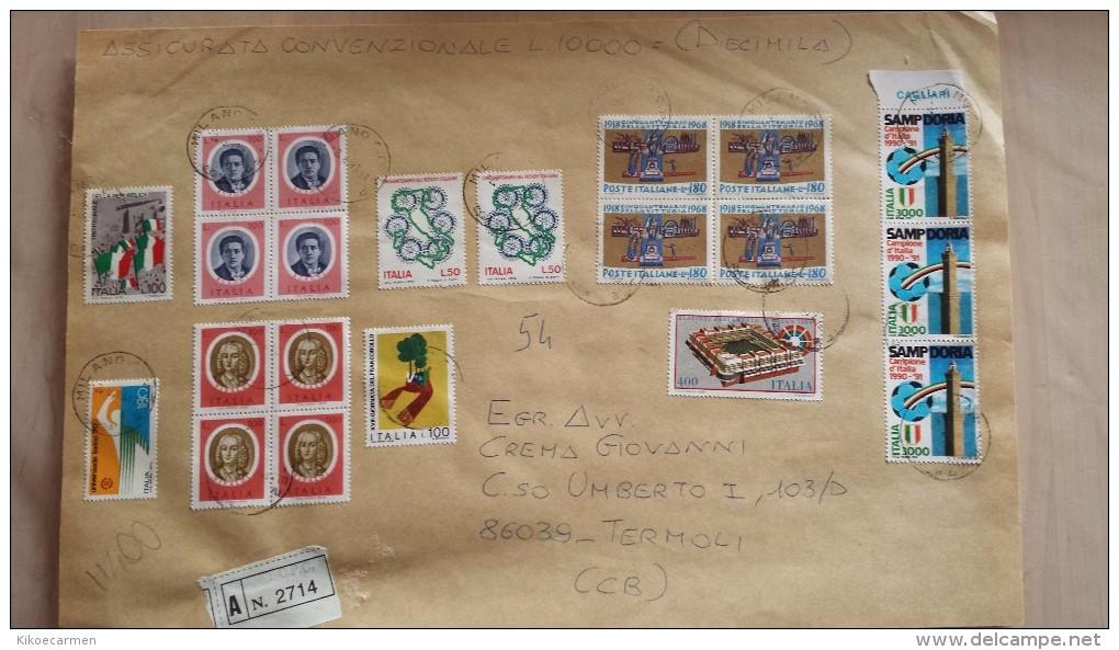 1993 Sampdoria 1991 Appendice Cagliari Quartina Vivaldi Bussoni 1975 1968 Vittoria (non Annullato) Busta Lettera Italia - 6. 1946-.. Repubblica
