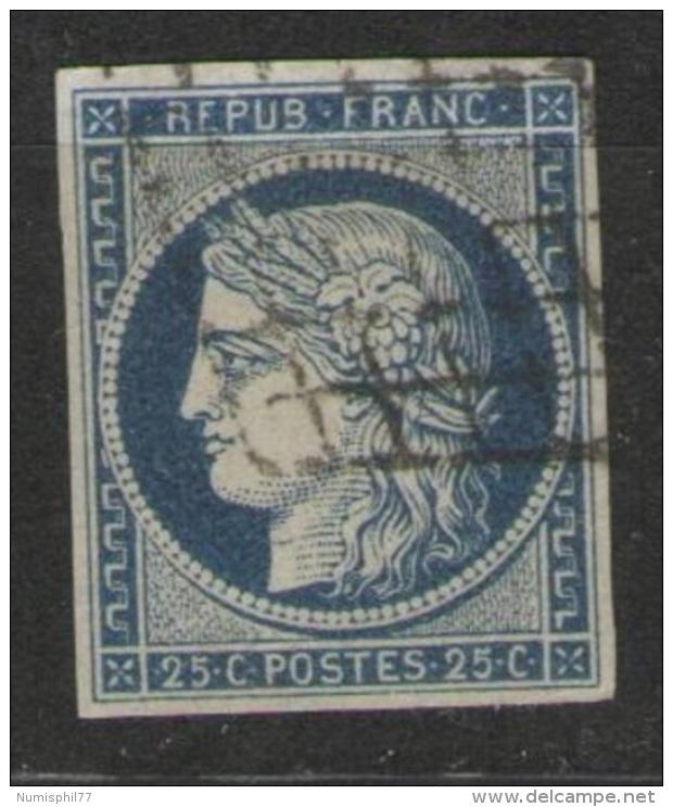 25 C. Cérès Bleu  - Yvert N° 4,  Oblitération Grille - TTB - 1849-1850 Ceres