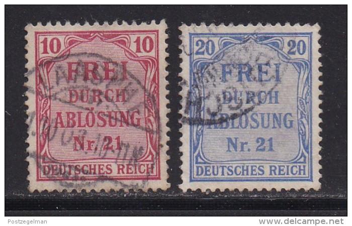 DEUTSCHES REICH, 1903, Cancelled Stamp(s), Frei Durch Abloessung (21), MI D4-5, #16213,  2 Values Only - Germany