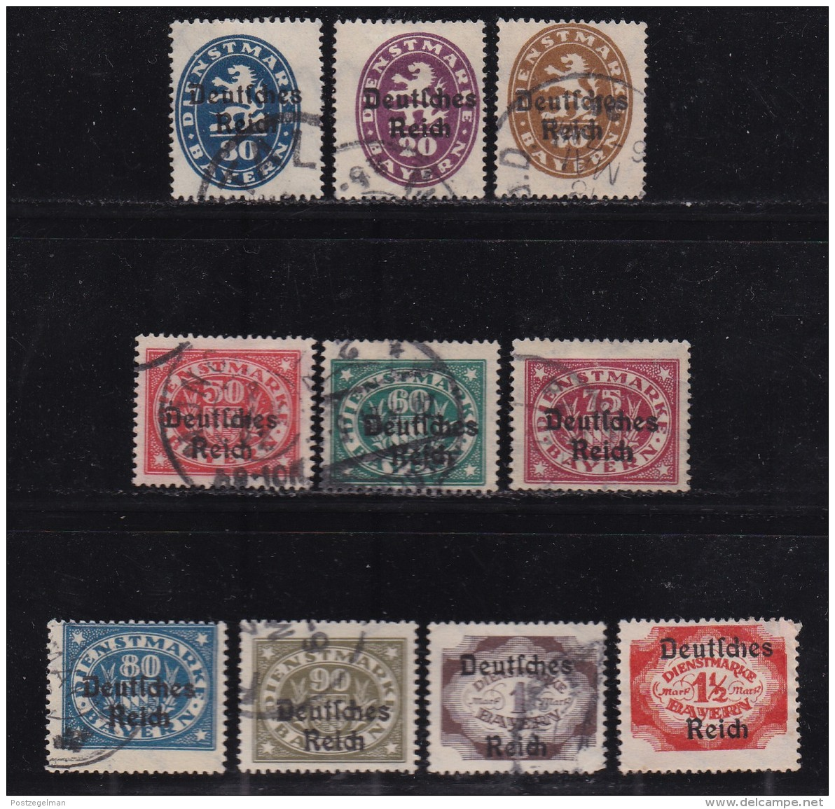 DEUTSCHES REICH, 1920, Cancelled Stamp(s), Overprints On Bayern, MI D34=D51, #16216,  10 Values Only - Germany