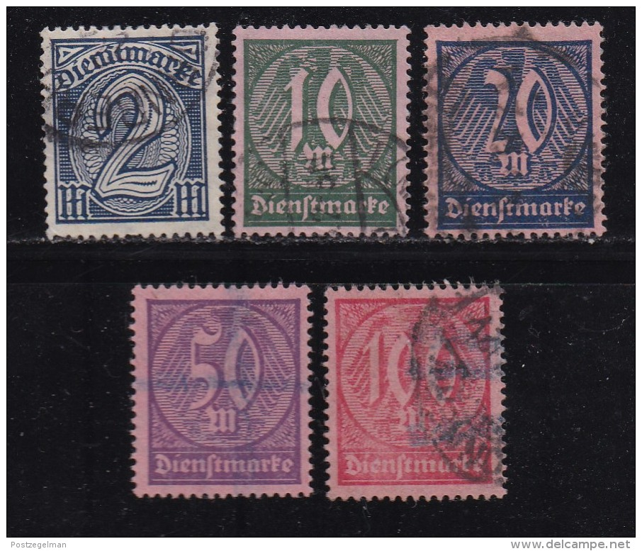 DEUTSCHES REICH, 1922, Cancelled Stamp(s), Dienstmarke,  MI D67=74, #16221  5 Values Only - Germany